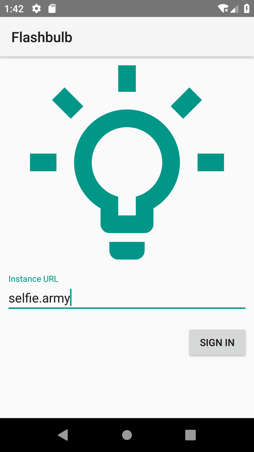 Screenshot of an Android app. 'Flashbulb' in the app bar name.           A lightbulb logo before a text field named 'Instance URL'.           The text 'selfie.army' is filled in.           A sign in button after the text field.
